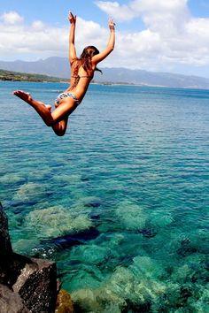 hahahaha she is definitely about to jump onto rocks