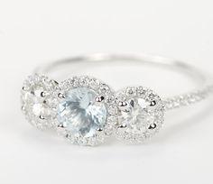 Aquamarine Three Stone Halo Diamond Engagement Ring - White Gold Omg this is gorgeous. I'm obsessed with the aquamarine diamond. Halo Diamond Engagement Ring, Bling Bling, Modern Jewelry, Fine Jewelry, Wedding Jewelry, Wedding Rings, Anniversary Rings, Beautiful Rings, Bracelets