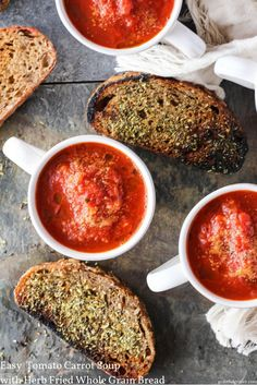 Delicious vegan recipe for easy tomato soup served with homemade fried whole grain bread. Healthier plant-based comfort food for fall! via @gratefulgrazer