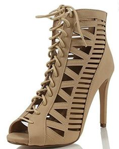 9ad575b5fa2b Women s Cut Out Stiletto Shoes Zipper Lace Up Run One Size Smaller