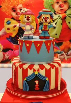 Fun cake at a circus birthday party! See more party ideas at CatchMyParty.com!