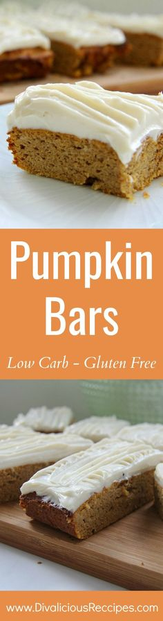 Pumpkin bars slathered with a cream cheese frosting are a delicious cake baked with coconut flour.