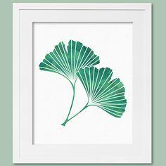 Printable Artwork Teal Watercolor Print Digital Download Ginkgo Gingko Ginko Leaf Print Teal Green & White Decor Botanical Print 8X10 16X20