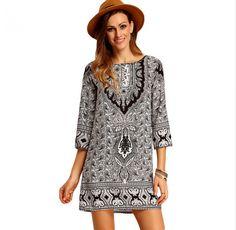 Women Fashion Clothing Ladies Casual Round Neck Three Quarter Length Sleeve Multicolor Tribal Print Loose Short Dress
