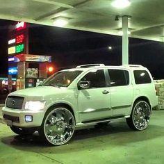 This one makes my heart jump! Custom Trucks, Custom Cars, Infinity Suv, Infiniti Qx56, Donk Cars, Suv Trucks, Hype Shoes, Cadillac Escalade, Luxury Suv