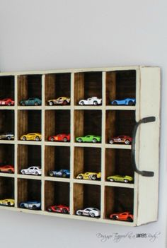 An old milk crate is a sturdy and fun way to store your son's favorite Hot Wheels cars, and it makes an awesome decor addition to his car-themed bedroom or playroom!