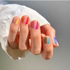 Cute And Pretty Nail Art Designs For Acrylic Short Nails – Acyrlic Nails Gel Uv Nails, Short Nail Manicure, Neon Nails, Short Nails, Manicure Ideas, Acrylic Nails, Uv Gel, Nail Tips, Striped Nail Designs