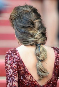 Summer Hair Ideas   2013. Unique hair style! Has a Medieval look… 3 section braid. French braid until the base of the neck - tie with ribbon - fishtail bubble braid (pull sections of extra volume) for the 2nd section and then another ribbon tie.