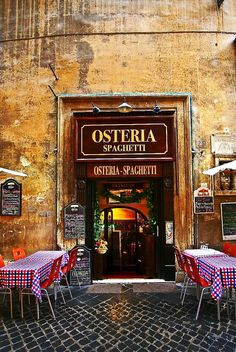entrance + outdoor tables, osteria, rome, italy