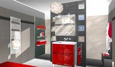 Organisation Décoration Salle De Bain Rouge Et Gris