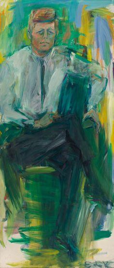 Elaine de Kooning, John F. Kennedy, 1963, oil on canvas. ©1963 ELAINE DE KOONING TRUST/NATIONAL PORTRAIT GALLERY, SMITHSONIAN INSTITUTION