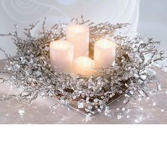 ☆ White Christmas Wonderland ☆  candles & snow glitter (crystals & mirror bits)