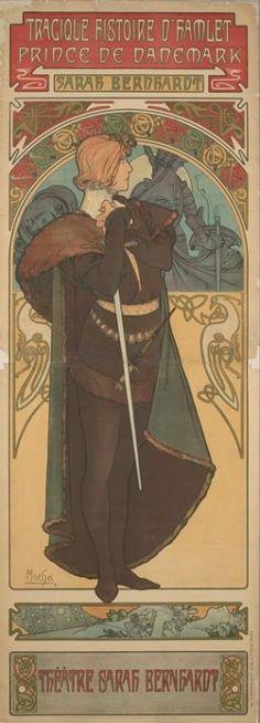 Sarah Bernhardt as Hamlet, poster by Alphonse Mucha