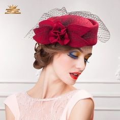 Cheap hat case, Buy Quality hat for baby girl directly from China hat beanie Suppliers: 2016 New Arrival Ladies Floral Pillbox Hats for women Black Wine Red Fashion Flowers Autumn Winter Fedora Hat with Net C