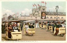 Steeplechase Pier & Boardwalk Rolling Chairs Atlantic City New Jersey Vintage Postcard circa 1920s (unused)