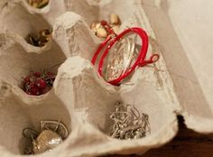 #2 Use egg cartons to store and protect small pieces of jewelry like earrings, rings, and bracelets.