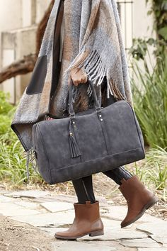 Sole Society Landin tassel weekender bag + Natasha leather boots