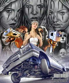Lowrider Tattoo, Lowrider Art, Cholo Art, Chicano Art, Chicano Drawings, Mano Brown, Chicano Tattoos Sleeve, Marilyn Monroe Artwork, Estilo Cholo