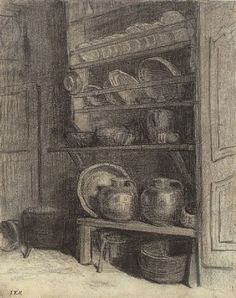 The dresser in Gruchy - Jean-Francois Millet - Technique: charcoal