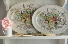 Vintage platters .Pair of vintage serving platters, Johnson Brothers, meat plates, serving plates, Windsor Bouquet