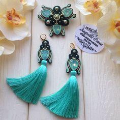 Boho Jewelry, Jewelry Art, Jewelery, Jewelry Design, Soutache Necklace, Tassel Earrings, Bead Embroidery Jewelry, Beaded Embroidery, Shibori