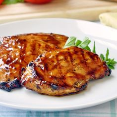 Brown Sugar and Balsamic Glazed Chicken - whether grilled or baked this easy recipe is a different take on sweet and sour chicken with more robust flavors. you can even make AMAZING club sandwiches with these yummy chicken breasts. Balsamic Glazed Chicken, Glaze For Chicken, Balsamic Chicken Recipes, Cooked Chicken, Ground Chicken, Garlic Chicken, Grilled Chicken, Turkey Recipes, Dinner Recipes