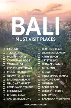 Must visit places that should be on your bucket list when traveling to BALI INDONESIA! Must visit places that should be on your bucket list when traveling to BALI INDONESIA! Bali Travel Guide, Asia Travel, Travel To Bali, Girl Travel, Canada Travel, Luxury Travel, Italy Travel, Travel Usa, Cool Places To Visit