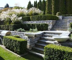 In this article we will discuss how to design a strictly formal garden on a large, rectangular area. Designing formal garden needs a little . Formal Garden Design, Rose Garden Design, Landscaping Retaining Walls, Hillside Landscaping, Landscaping Ideas, Garden Retaining Wall, Stone Retaining Wall, Outdoor Landscaping, Patio Ideas
