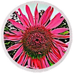 #pink #flower Round Beach Towel