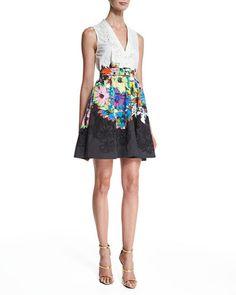 B33D7 Roberto Cavalli Sleeveless Embroidered Fit-&-Flare Dress, Black/White/Blue