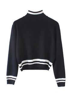 Women-Simple-Fall-Winter-Vintage-Stripe-High-Collar-Short-Knitted-Sweater