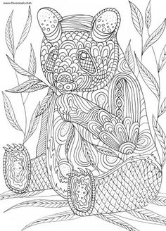 Panda printable adult coloring page