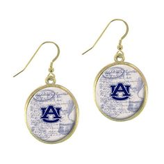 Brushed gold toned vintage style officially licensed Auburn University earrings.