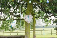 Hung strings of buttons & hearts in the trees outside! #DIY #wedding #weddingphotography www.folegaphotography.co.uk
