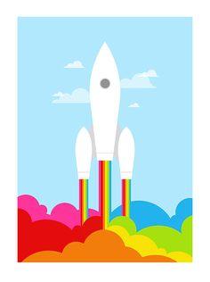 Retro poster rainbow print space rocket mid century by yumalum