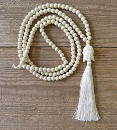 tassel necklace  white Buddha necklace  white by beachcombershop