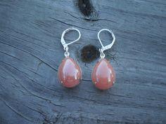Orange Glass Teardrop Leverback Earrings by tlw1212 on Etsy