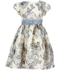 Rare Editions Little Girls 2T-6X Foillage Ribbon-Trim Dress