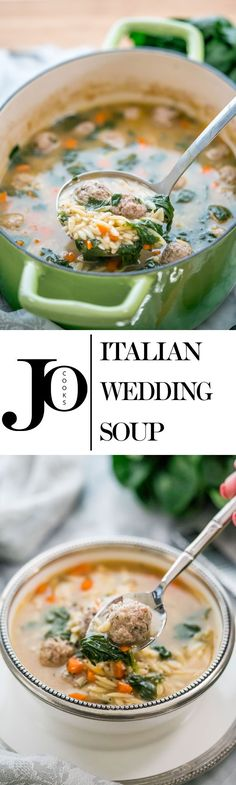 Italian Wedding Soup - an American-Italian soup with spinach and orzo and delicious easy to make meatballs. So simple, quick and always delicious!