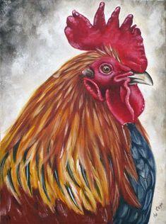 Rooster Head by Ilse Kleyn. Oil on canvas www.artofkleyn.co.za