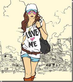 Chica con look urbano y veraniego - vector