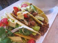 MAKE THESE TACOS! Keith's fav. I use diced chicken breast and I dont prepare the salad.
