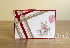 Papercraft by Jennifer Frost: #TGIFc37 Sketch - SU - Plaid - Balloon Builders stamp set - Numbered Birthday - Kids