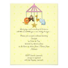 Yellow Baby Animal Mobile Baby Shower Invitation