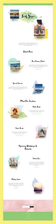 Leaf Yoga is like no other template you've seen. Whimsical design, custom watercolor elements, playful fonts and parallax scrolling will make a long-lasting impression.