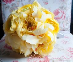 Wedding Bouquet Yellow Peony Wedding Bouquet  by KateSaidYes, $90.00