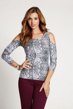Long-Sleeve Snake-Print Cold-Shoulder Top | GUESS.com