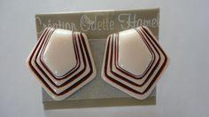 80s Cream/Rust Lucite Stud Earrings by LoukiesWorld on Etsy