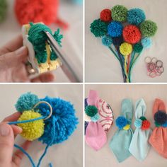 pom-pom napkin rings | @artbarblog  because pom poms are awesome, that's why. rj.