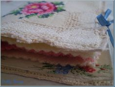 vintage linen felt needle book